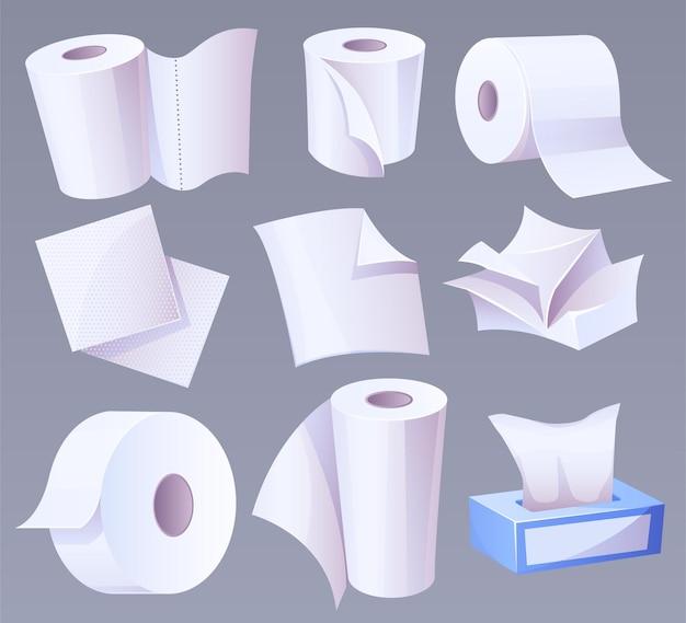 Toalla de papel higiénico de producción de celulosa aislada en gris.