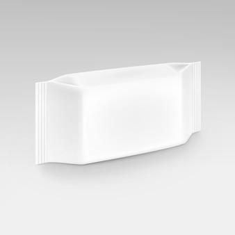 Toallitas húmedas servilletas paquete de paquete de empaque blanco en blanco sobre fondo