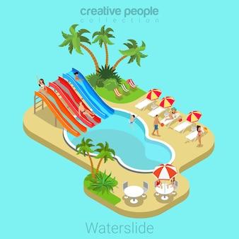 Tobogán de agua plano 3d concepto de vacaciones de verano isométrico