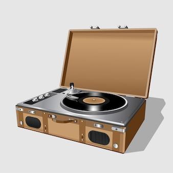 Tocadiscos vintage. disco de vinilo del tocadiscos. tocadiscos antiguo retro realista sobre fondo blanco. aislado.