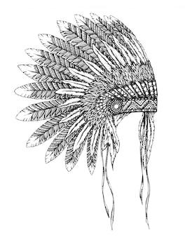 Tocado indio nativo americano con plumas en un estilo de dibujo.