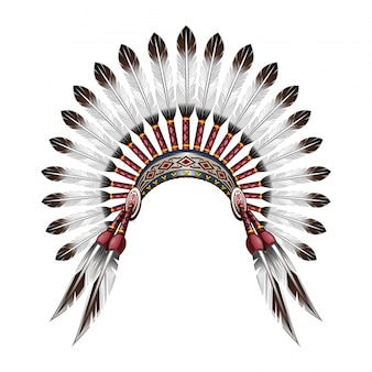 Tocado de indio nativo americano. tocado de jefe tribal indio rojo con plumas. tocado de plumas.