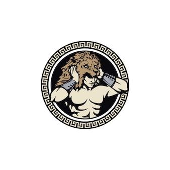 Tocado de león hércules heracles, mito muscular guerrero griego con emblema de círculo insignia patrón marco diseño de logotipo