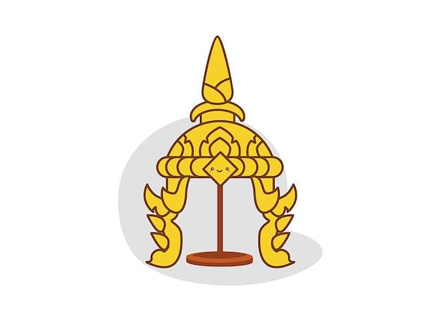 Tocado tailandés tradicional del ilustrador del vector