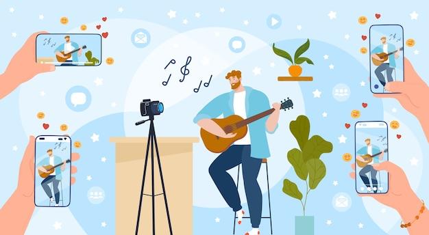 Tocar la guitarra ilustración en línea.