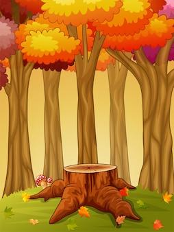 Tocón de árbol y seta en el bosque de otoño