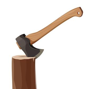 Tocón con el hacha aislada en el fondo blanco. elemento hacha de madera