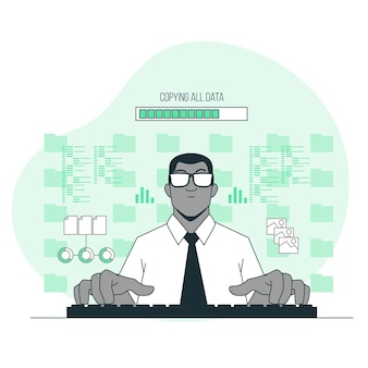 Toda la ilustración del concepto de datos