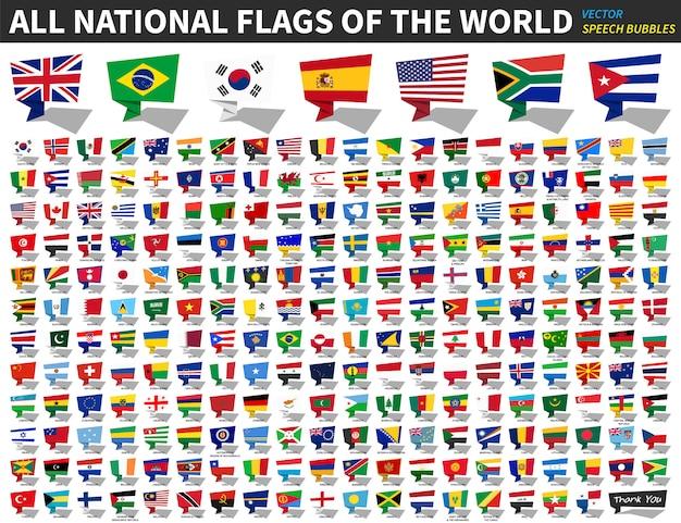 Todas las banderas nacionales del mundo. diseño de burbujas de discurso