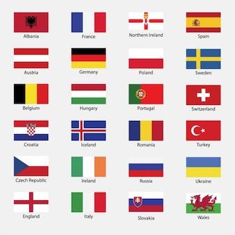 Todas las banderas de los países de la eurocopa