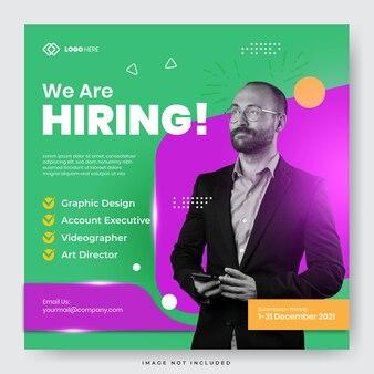 Para todas las personas creativas, estamos contratando una plantilla de publicación de redes sociales para puestos de trabajo