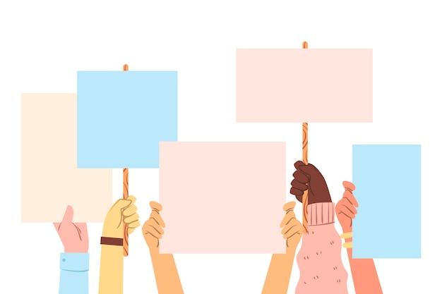 Todas las vidas importan manos sosteniendo pancartas