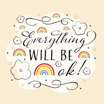 Todo estará bien arcoíris y líneas elegantes