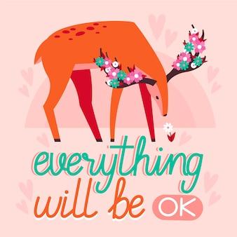 Todo estará bien letras con lindos ciervos ilustrados