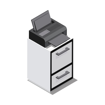 Todo en una impresora aislada sobre fondo.