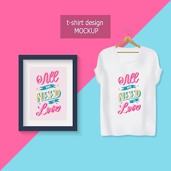 Todo lo que necesitas es amor. letras de citas motivacionales. diseño de camiseta.