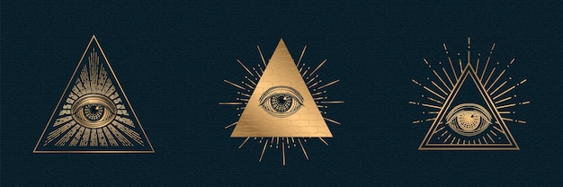 Todo el ojo que ve la ilustración del símbolo illuminati