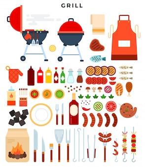 Todo para parrilla, gran conjunto de elementos. diferentes herramientas especiales y comida para barbacoa.