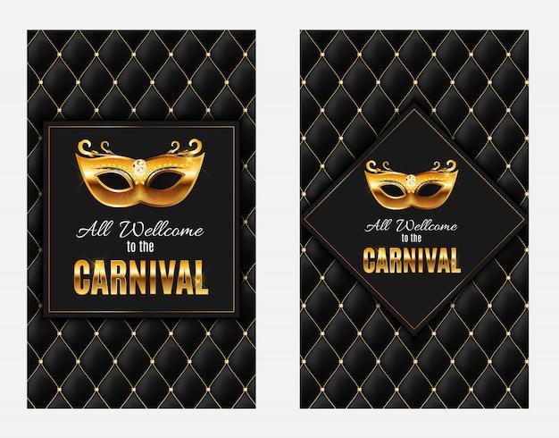 Todos bienvenidos al carnaval, evento popular en brasil. diseño con máscara de fiesta. concepto de mascarada.