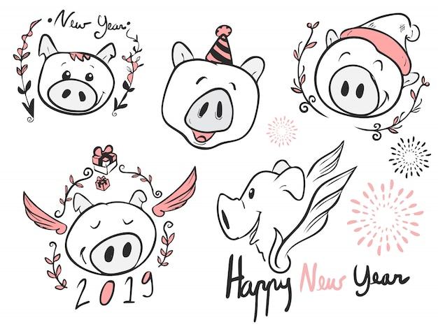Todos se enfrentan a los dibujos animados de cerdo para el nuevo año, vector, doodle y arte lineal, feliz año nuevo