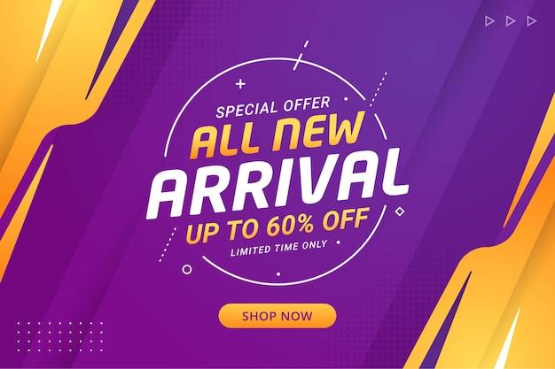 Todos los nuevos banner de llegada ofrecen promoción de descuento minorista de productos.