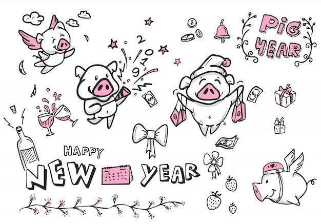 Todos los personajes de dibujos animados de cerdo para año nuevo, vector, doodle y arte lineal, feliz año nuevo