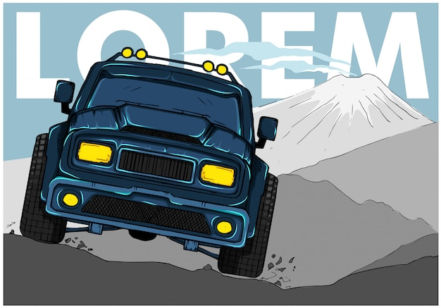 El todoterreno 4x4 cruza montañas rocosas.