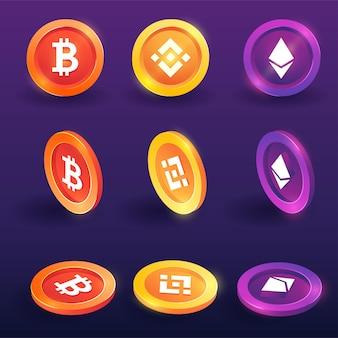 Token 3d de criptomoneda, bitcoin, binance y ethereum