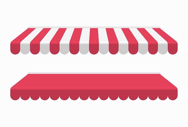 Toldo rojo o dosel aislado sobre fondo blanco.