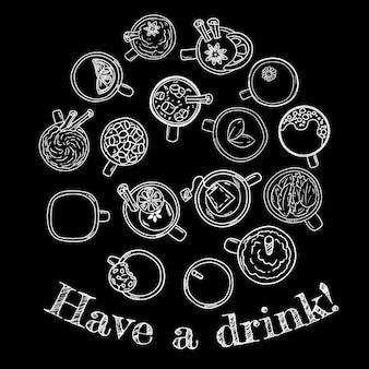 Toma una bebida. conjunto de lindas bebidas deliciosas doodle bocetos de pizarra.