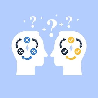 Toma de decisiones, negociación y persuasión, habilidad de comunicación, círculo de lógica falsa, solución lógica, pensamiento crítico, concepto de psicología o psiquiatría, ilustración plana