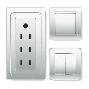 Toma grande con conector euro e interruptores de luz