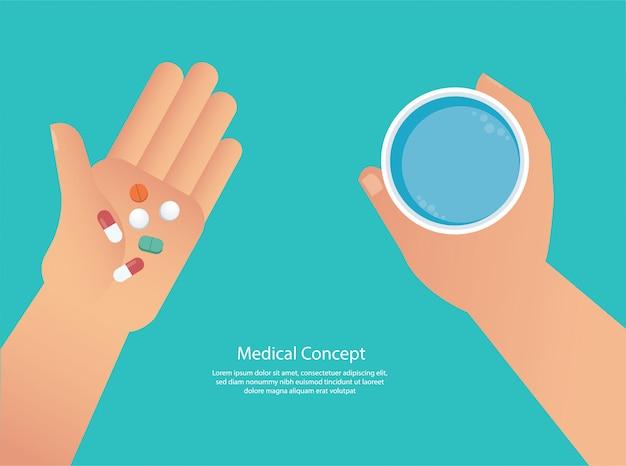 Tomando el concepto de pastillas de medicina.