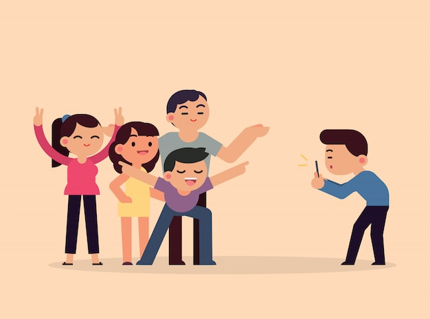 Tomando fotos amigos sonrientes felices con teléfono inteligente, jóvenes divirtiéndose concepto, vector ilustración plana.