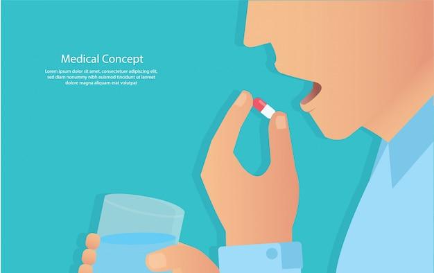 Tomando las pastillas. concepto de medico