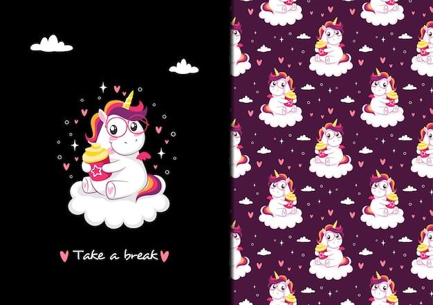 Tomar un descanso patrón de unicornio tiempo