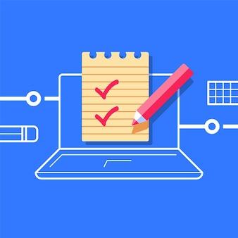 Tomar una prueba, verificar conocimientos, clase en línea, preparación de exámenes, concepto de educación en internet, lista de verificación en computadora, ilustración