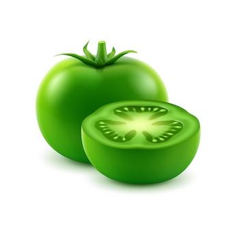 Tomate cortado fresco verde maduro grande del vector en blanco