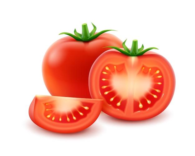 Tomate entero cortado fresco rojo maduro grande cerca aislado sobre fondo blanco.