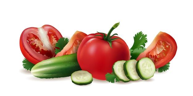 Tomate, pepino y ensalada