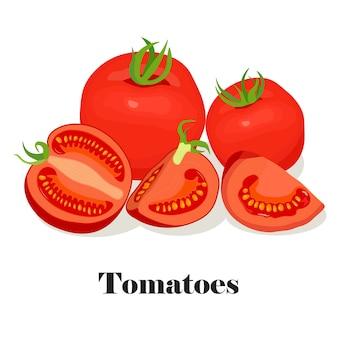 Tomates, mitades y rodajas. verduras