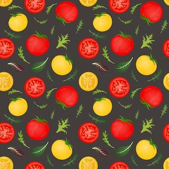 Tomates rojos y amarillos sobre fondo oscuro. tomate vegetal con hojas de lechuga y rúcula. patrón sin costuras.