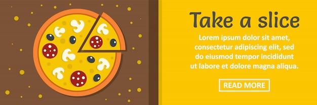 Tome un concepto horizontal de plantilla de banner de rebanada de pizza