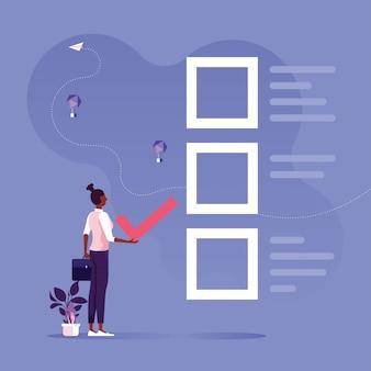Tome la decisión correcta para obtener soluciones comerciales y concepto de retroalimentación
