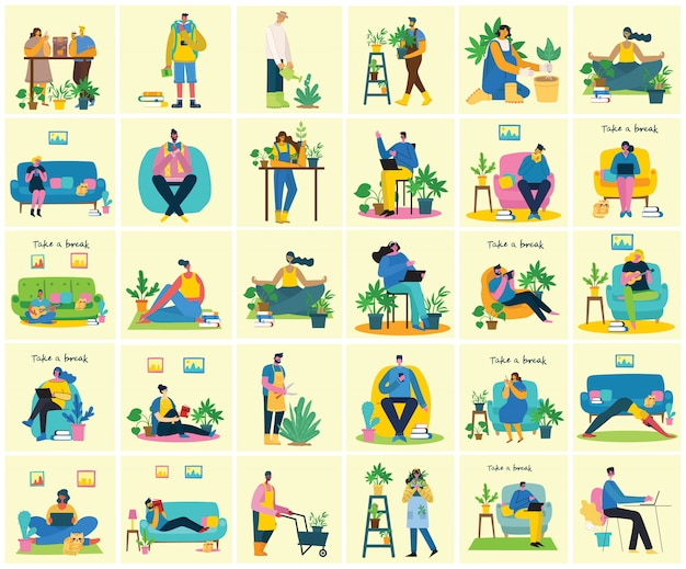 Tome una ilustración de collage de descanso. la gente descansa y toma café, usa la tableta en la silla y el sofá. estilo de vector plano.