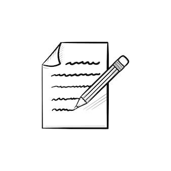 Tome nota icono de doodle de contorno dibujado a mano. ilustración de esbozo de vector de hoja de lápiz y papel para impresión, web, móvil e infografía aislado sobre fondo blanco.