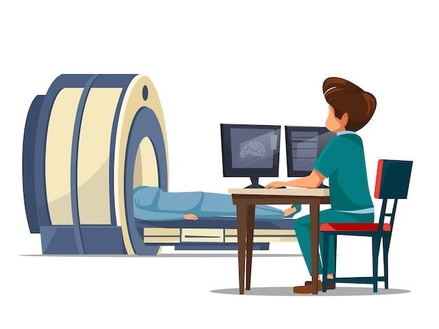 Tomografía computarizada ct o resonancia magnética proceso de escaneo del paciente mri