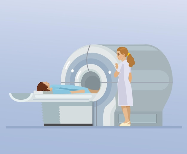Tomografía computarizada y paciente.