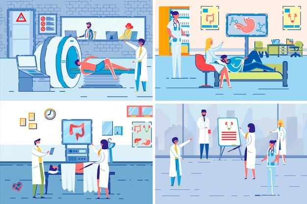 Tomografía médica y examen de rayos x vector.