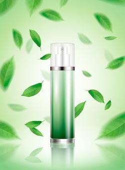 Tónico en aerosol de té verde con hojas refrescantes volando en el aire en la ilustración 3d